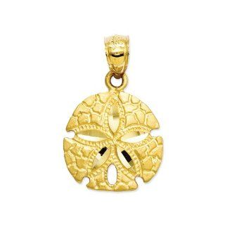 15mm Diamond Cut Satin Sand Dollar Pendant In 14 Karat Yellow Gold Jewelry