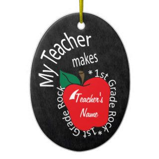 My Teacher Makes 1st Grade Rock  Chalkboard Christmas Tree Ornament