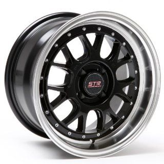 STR Racing 502 Black Machine Lip 4x100 15x8 Inch Wheel +10 offset Automotive