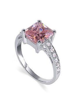 Sterling Silver 10mm Princess Cut Pink Cubic Zirconia Polish Finish 2mm Band Ring Size 5, 6, 7, 8, 9, 10 Jewelry