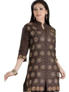 Women Cotton Ariya Embroidered Tunic Top / Blouse Shirt in Brown Evening Blouses