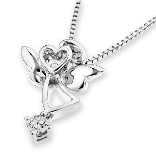 X1000Diamond 18K White Gold Love Angel Diamond Dangling Pendant W/925 Silver Silver Chain (0.08ct, G H Color, VS2 SI1 Clarity) X1000Diamond Jewelry