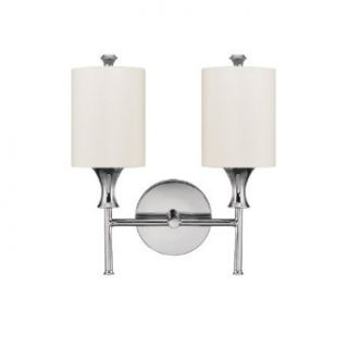Capital Lighting 1172PN 489 Studio 2 Light Sconce, Polished Nickel with White Fabric Shade   Wall Sconces