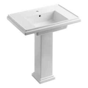 KOHLER Tresham Pedestal Combo Bathroom Sink with Single Hole Faucet Drilling in White K 2845 1 0