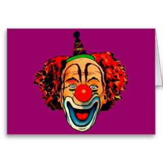 Vintage Crazy Clown Greeting Cards