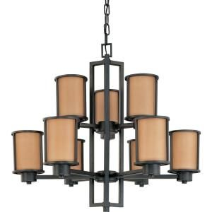Glomar Odeon 9 Light Aged Bronze Chandelier with Parchment Glass Shade HD 2856