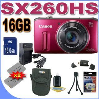 Canon PowerShot SX260HS SX260 HS 12.1 MP CMOS Digital Camera with 20x Image Stabilized Zoom 25mm Wide Angle Optical Lens and 1080p HD Video (Red) Premium Bundle 16 GB Memory Card, Two NB6L Battery, Battery Charger, Card Reader, Carrying Case, Mini Tripod A
