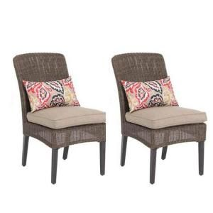 Hampton Bay Walnut Creek Patio Dining Chair with Wheat Cushion (2 Pack) DISCONTINUED FRS10013 Wheat