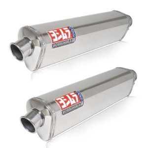 Yoshimura TRS Dual Tri Oval Stainless Steel Street Bike Slip On Exhaust System Automotive