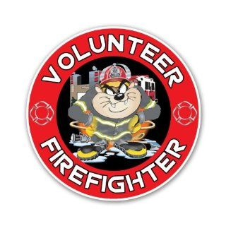 Taz Cartoon Firefighter Volunteer Looney Tunes Car Sticker Decal 4""