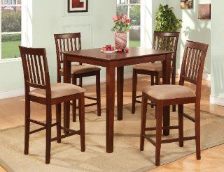 5PC Square Pub Counter Height Table Set And 4 Cushioned Stools   Dining Room Furniture Sets