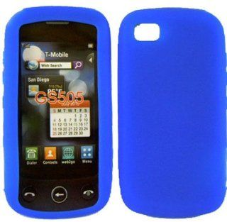 For LG Sentio GS505 Soft Silicone Rubber Skin Cover Case Cool Blue + with Free Gift Aplus Pouch Cell Phones & Accessories