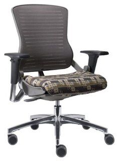 OM5 Grey Frame with Mesh Covered Poly Back and Polished Aluminum Base  Office Furniture