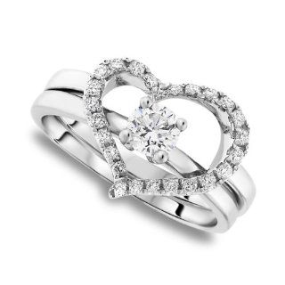 Diamond Pave Heart Ring 0.525 Ctw in Platinum (318533) Jewelry