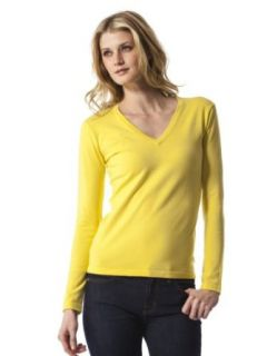 525 America Womens Long Sleeve V Neck Sweater   Yellow Fin   Large
