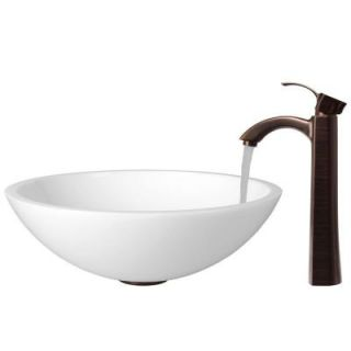 Vigo Flat Edged Phoenix Stone Glass Vessel Sink in White with Faucet in Oil Rubbed Bronze VGT208