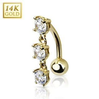 "14 Karat Solid Yellow Gold Top Down TrPlatedle CZ Stones Dangle Navel Belly Button Ring   14GA 3/8"" Long West Coast Jewelry Jewelry"