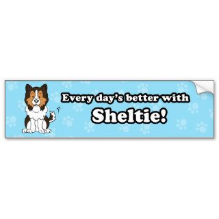 Cute Cartoon Dog Sheltie Bumper Sticker
