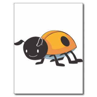 Cool Orange Baby Ladybug Cartoon Post Cards