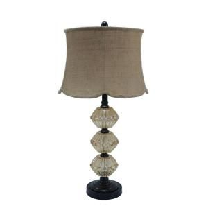 Fangio Lighting 30 in. Painted Bronze Metal Table Lamp with Amber Glass Shade 5055