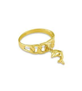 Women's 14k Solid Yellow Gold Dangle Dolphin Charm Ring Jewelry