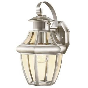 Hampton Bay 1 Light Motion Sensing Outdoor Brushed Nickel Lantern BPO1691 MS