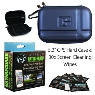 "Blue 5.2"" Inch Hard GPS Carrying Case + caseen NATUREGUARD 30x Screen Cleaning Wipes for Garmin Nuvi 1450LMT, 1490T, 1490LMT, 2450, 2460, 1450, 1490, 5000. Magellan Roadmate 1470, 1475T, 2035, 5045. TomTom XXL 535T, 550, 540, 540T, 540TM and more Com"