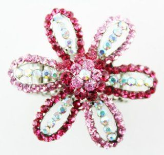 Pink Rhinestone Flower Fashion Ring Elastic Pink Setting Flower Ring