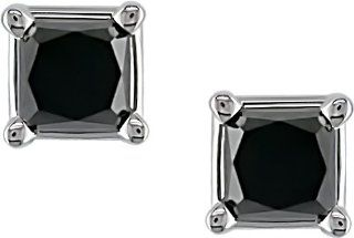 14K White Gold 1 ctw Black Diamond Solitaire Earrings Jewelry