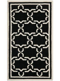 Safavieh DHU545L Dhurrie Collection Handmade Wool Area Rug, 3 Feet by 5 Feet, Black and Ivory
