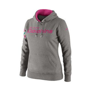 NIKE Womens Miami Dolphins Breast Cancer Awareness Tailgater Fleece Pullover