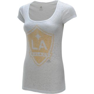adidas Womens Los Angeles Galaxy Scoop Neck Short Sleeve T Shirt   Size
