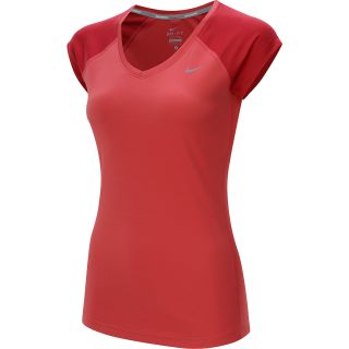 NIKE Womens Miler V Neck Cap Sleeve Running T Shirt   Size XS/Extra Small,