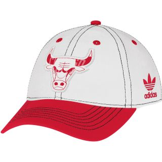 adidas Womens Chicago Bulls Basic Slouch Adjustable Cap, White/team