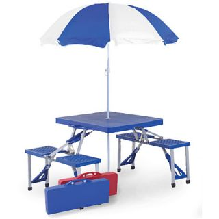 Picnic Plus Folding Picnic Table with Umbrella, Blue (PSM 101UB)