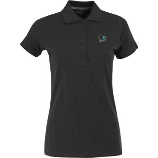 Antigua Womens San Jose Sharks Spark 100% Cotton Washed Jersey 6 Button Polo