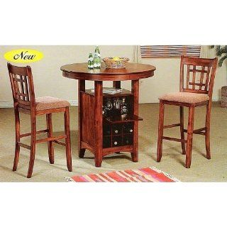 3 pc bar table set with wine and glass storage cabinet underneath table   Home Bar And Bar Stool Sets