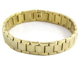 Men's Heavy Gold Plated Solid Stainless Steel Chain Link Bracelet 8 Inches GSTB 551 Jewelry