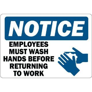 "Notice  Employees Must Wash Hands, Set of 3 High Performance Vinyl, Safety Signs, Labels, Decals 3.5"" x 5"" Industrial Warning Signs"