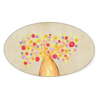 Watercolor Colorful Flower Tree Painting Oval Sticker