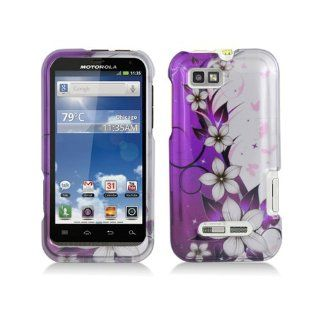 Purple Silver Flower Hard Cover Case for Motorola Defy XT XT556 XT557 XT557D Cell Phones & Accessories