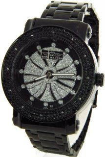 Mens King Master Genuine Diamond Watch Black Case Metal Band w/ 2 Interchangeable Watch Bands #KM 544 King Master Watches
