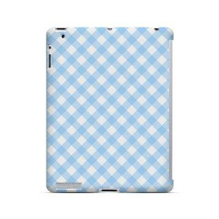 [Geeks Designer Line] Light Blue Plaid Apple iPad 2nd Gen Plastic Case Cover [Anti Slip] Supports Premium High Definition Anti Scratch Screen Protector; Durable Fashion Snap on Hard Case; Coolest Ultra Slim Case Cover for iPad 2nd Gen Supports Apple 2nd Ge