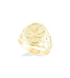 New 14k Solid Yellow Gold Marijuana Leaf Men's Ring Jewelry