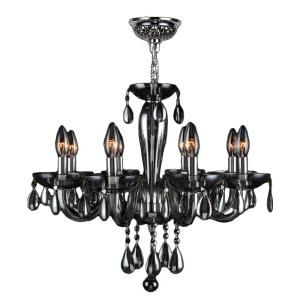 Worldwide Lighting Gatsby Collection 8 Light Chrome and Smoke Hand Blown Glass Chandelier W83129C22 SM