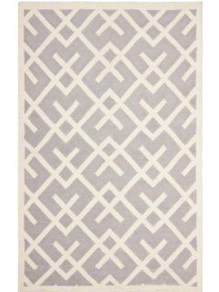 Safavieh DHU552G Dhurrie Collection Handmade Wool Area Rug, 9 Feet by 12 Feet, Grey and Ivory