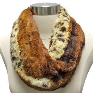 Luxury Divas Brown Animal Print Faux Fur Thick Ultra Plush Infinity Circle Scarf