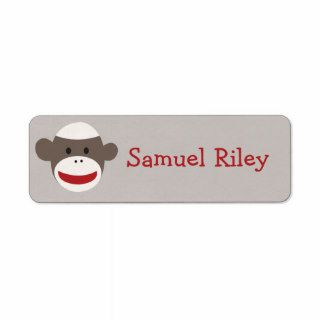 Sock Monkey Personalized Sticker Return Address Label