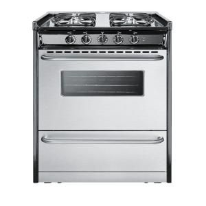 Summit Appliance 30 in. 3.7 cu. ft. Slide In Gas Range in Stainless Steel TNM21027BFRWY