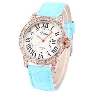 Rose Goden Case Blue Leather Strap Crystal Round Dial Women Girl Quartz Watch WAA557 Watches